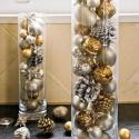 Déco Noël chrome or - chrome argent