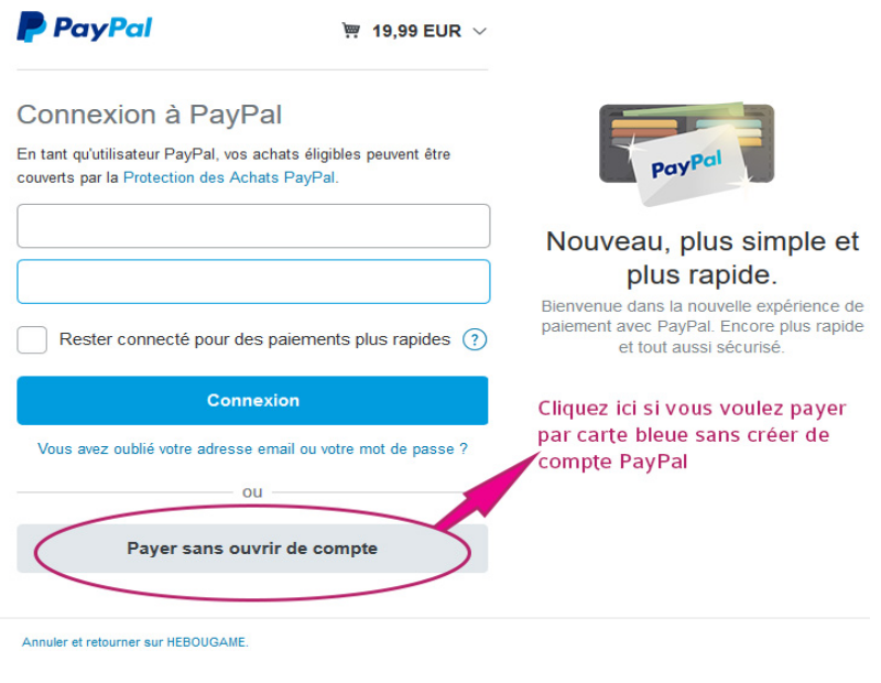 Page paiement paypal